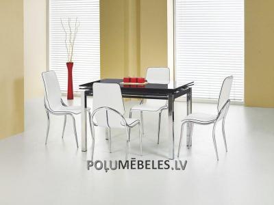 HALMAR Izvelkams galds ar stikla virsmu