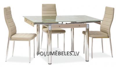SIGNAL Stikla galds izvelkams GD-082 (bēšs)
